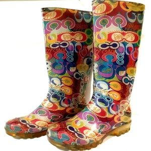 COACH POPPY 6 Multicolor Graffiti Knee Rain Boots